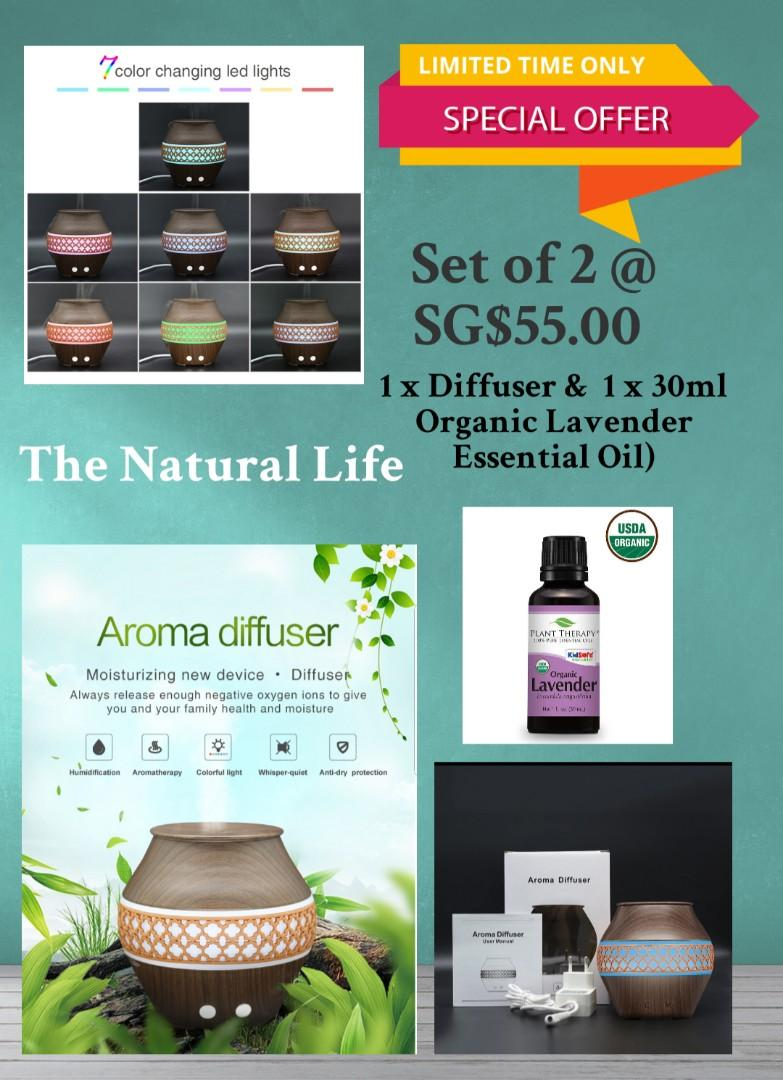 Ultrasonic diffuser and lavender essential oil by Plant therapy IN STOCK AUTHENTIC