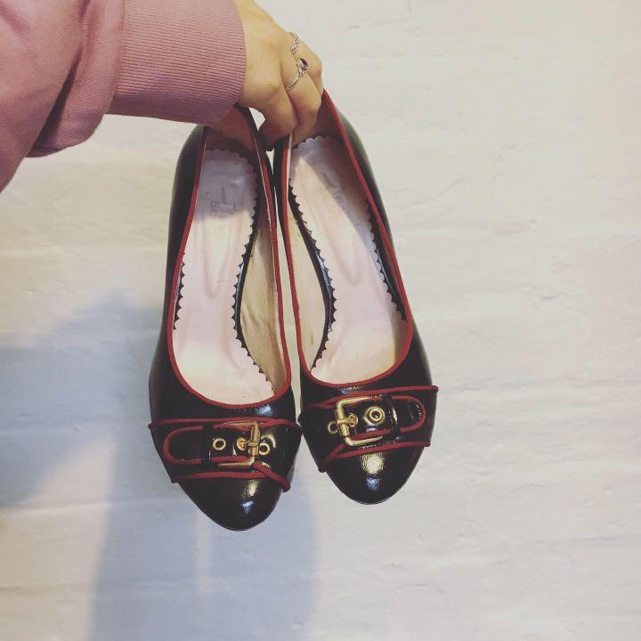 Vintage Black & Red Heels | Gold Buckle | Genuine Leather