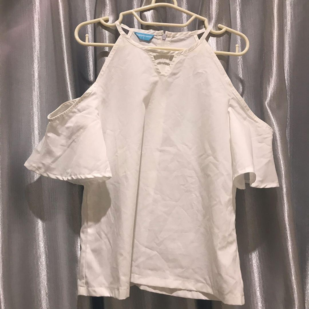 White shoulder top NEW