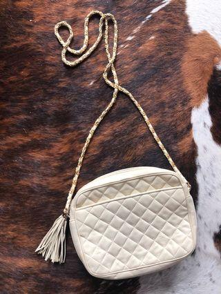 Vintage Quilted Crossbody Light Gold/Metallic Leather