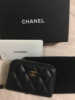 Chanel  黑色金扣 荔枝皮 經典格紋零$包 卡包