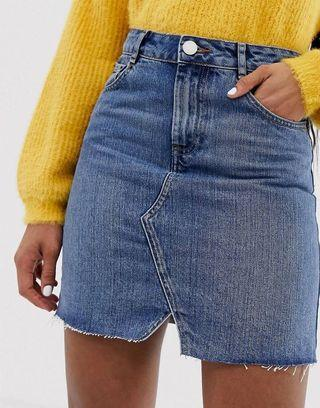 ASOS DESIGN denim pelmet skirt in midwash blue