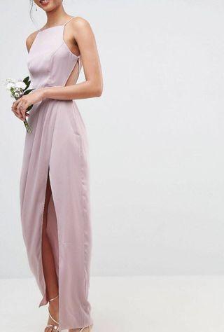 ASOS DESIGN drape front strappy back maxi dress