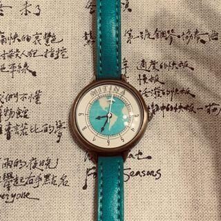 🚚 復古 湖水綠 地圖 小錶面 典雅 手錶