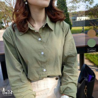 超級特價🔥素面微挺版薄長袖襯衫 可當外套(草綠/土橘)