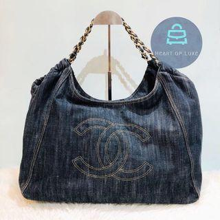 正品 9成新 Chanel 牛仔布袋 Denim Chain Shoulder Bag