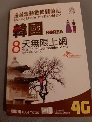 Korea 8 days unlimited SIM card