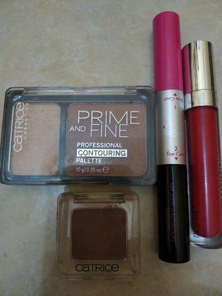 Maskara Pixy, Contouring Catrice, Eye shadow Catrice, dan Lipstik Wardah