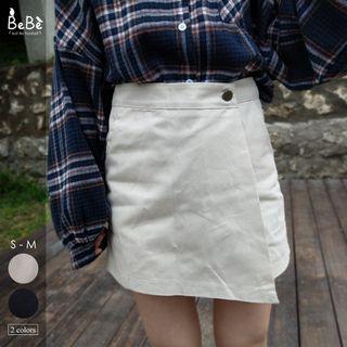 顯腿長💓百搭不對稱包臀短褲裙(杏/黑)