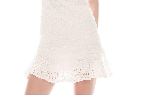 White flute eyelet skirt