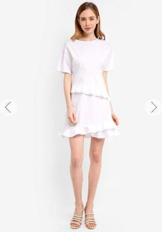 BNWT Zalora Ruffle Frill Hem Dress in White