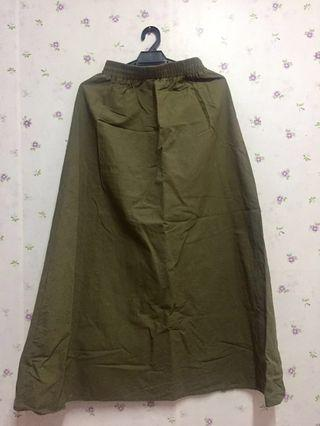 Cotton Denim Skirt in Army green