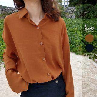 質感壓紋雪紡長袖襯衫(土橘/黑)