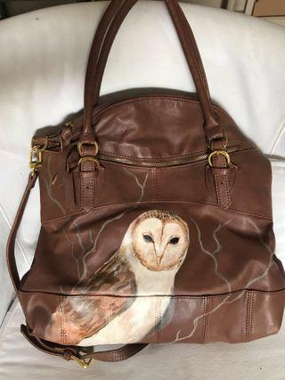 Hand painted OWL (lamb nappa) sling bag by professional bag artist