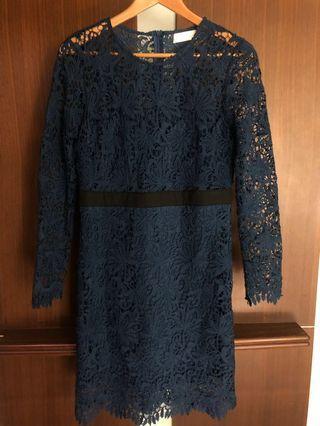 🚚 深藍色氣質蕾絲洋裝 小禮服 婚禮洋裝