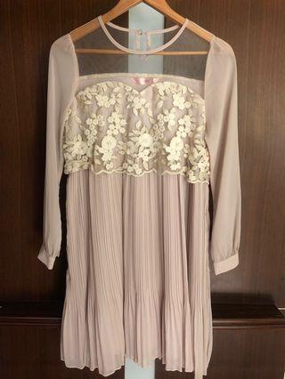 🚚 藕粉色浪漫蕾絲雪紡洋裝 婚禮 小禮服