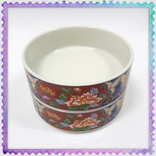 Vintage Antique Ceramic Bowl Container Japan 2 layer