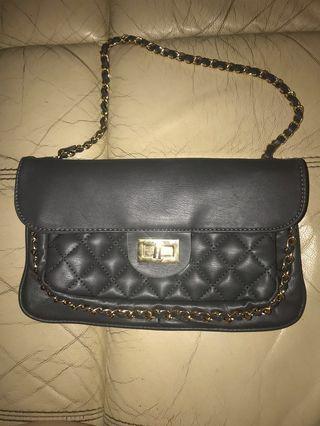 Reissue styled bag in graphite grey black Chanel parody