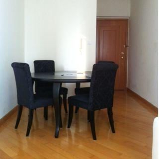 Round Black Table with Glass Spinning TOP + 4 Chairs