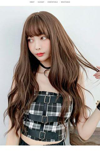 (NO INSTOCKS!)Preorder korean natural air bangs S wavy long wig*waiting time 15 days after payment is made*chat to buy to order