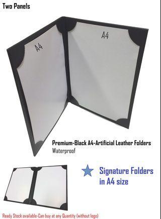 Signature Folders, Certificate Folders, Menu Folders, A4 size/Double Panels/Faux Leather[Premium A4-Waterproof & Durable] Made in Singapore