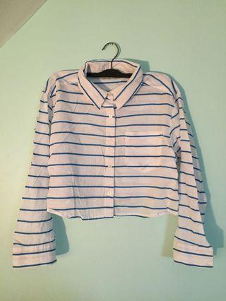 Flowy Cropped White and Blue Striped Shirt