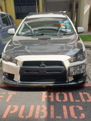 Lancer ex evo x front bumper with hks front lip