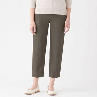 🚚 無印良品 法國亞麻舒適錐形八分褲 卡其米