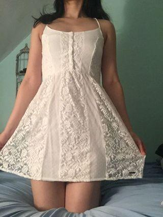 White Lace Floral Summer Dress