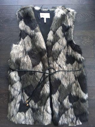BCBG faux fur vest with belt and pockets XS