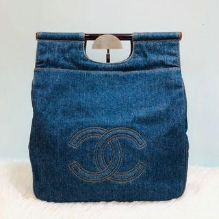 正品 9成新 Chanel 牛仔布袋 Vintage Denim Handle Bag