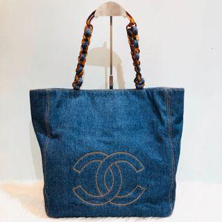 正品 9成新 Chanel牛仔布袋 Vintage Denim Bag