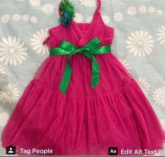 Preloved Dress pink fuschia plus tali hijau