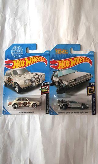 2x Hot Wheels : Deloran Time Machine & Ford Escort RS1600