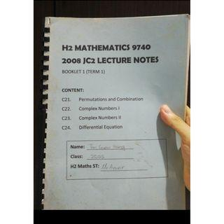 SELLING H2 MATHS NOTES AND PRELIM PAPERS