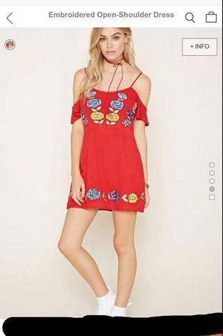 (Price reduced!) Forever 21 embroidered boho cold shoulder dress