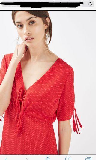 PRICE REDUCED! Topshop Red White Polka Dot Midi Tea Dress Vintage Style