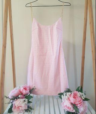 Pink and White Meshki Mini Dress