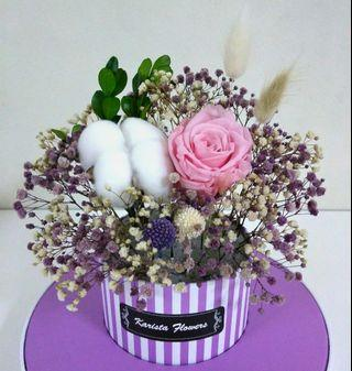 Eternal preserved rose & cotton flower box