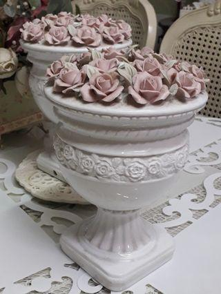 Beautiful Lamp Bases with Ceramic Pink Roses