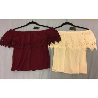 $10 Lace off-the-shoulder shirts, burgundy & white (with tags!)