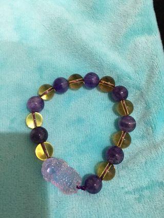 🚚 烏拉圭紫水晶含黃水晶手珠貔貅