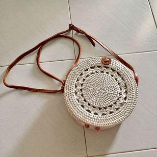 White rattan bag