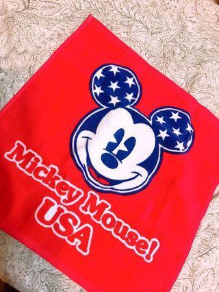 絕版迪士尼USA米奇日本製純棉正方形手帕巾/毛巾 33公分 (藍色)洗臉毛巾