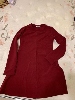 酒紅色長袖微性感洋裝