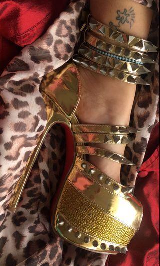 Louboutin Gold Isolde Heels