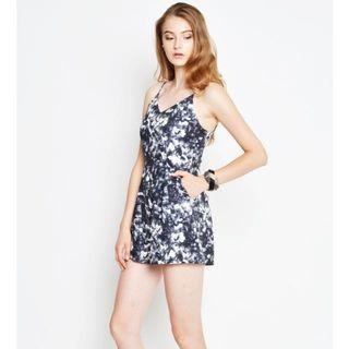 Clearance! Brand New Love and Bravery Diamond Shards Romper Jumpsuit Navy Blue L