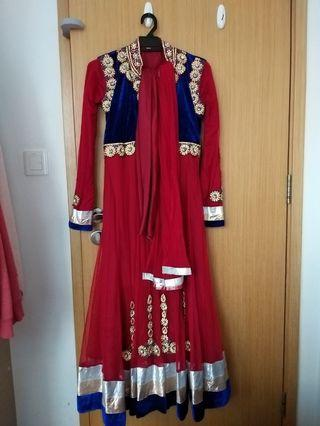 Red (Blue Velvet) Punjabi Suit
