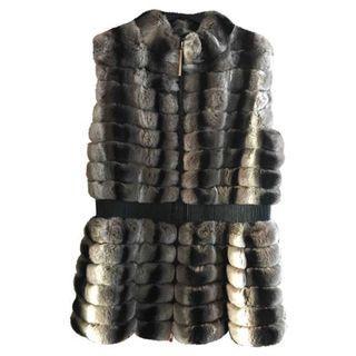 YVES SALOMON Rabbit Fur Vest AUTHENTIC