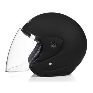 New DFG 602 Metallic Black Half Face Motorcycle Helmet